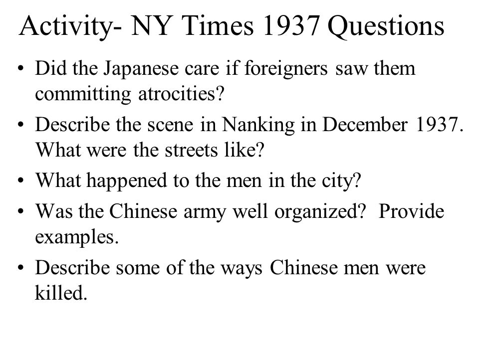 Activity- NY Times 1937 Questions