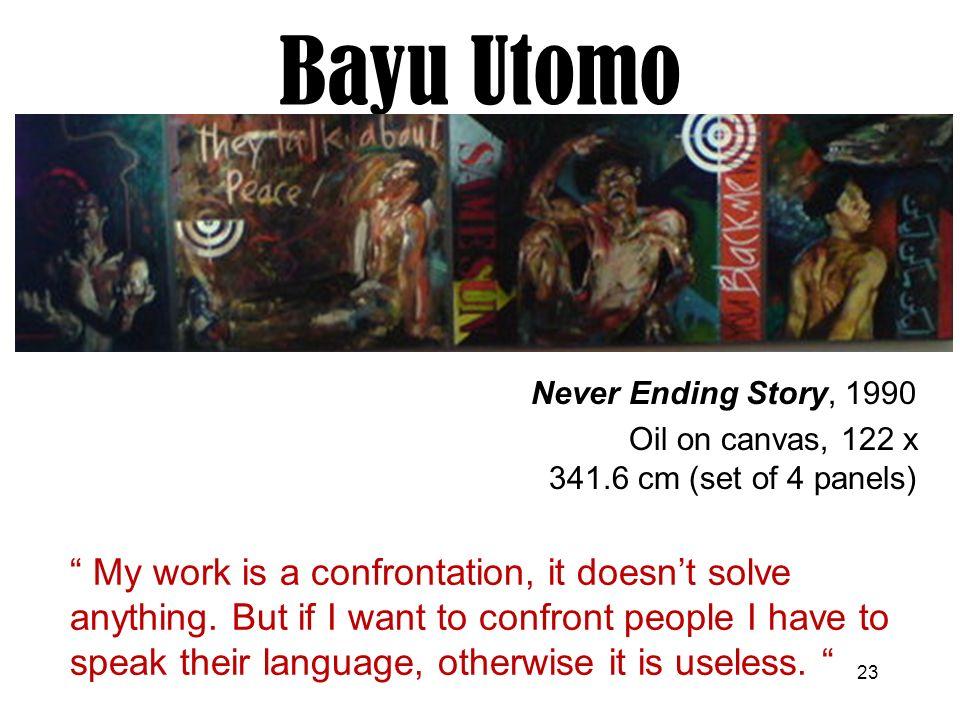 Bayu Utomo Radjikin Never Ending Story, 1990. Oil on canvas, 122 x 341.6 cm (set of 4 panels)