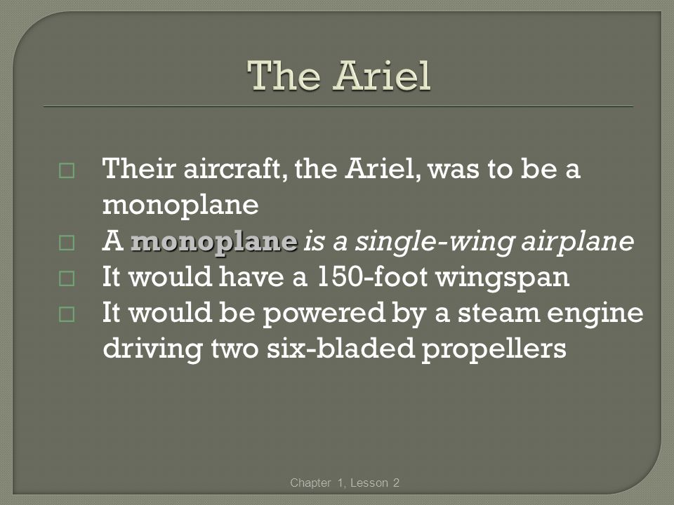 The Ariel Their aircraft, the Ariel, was to be a monoplane