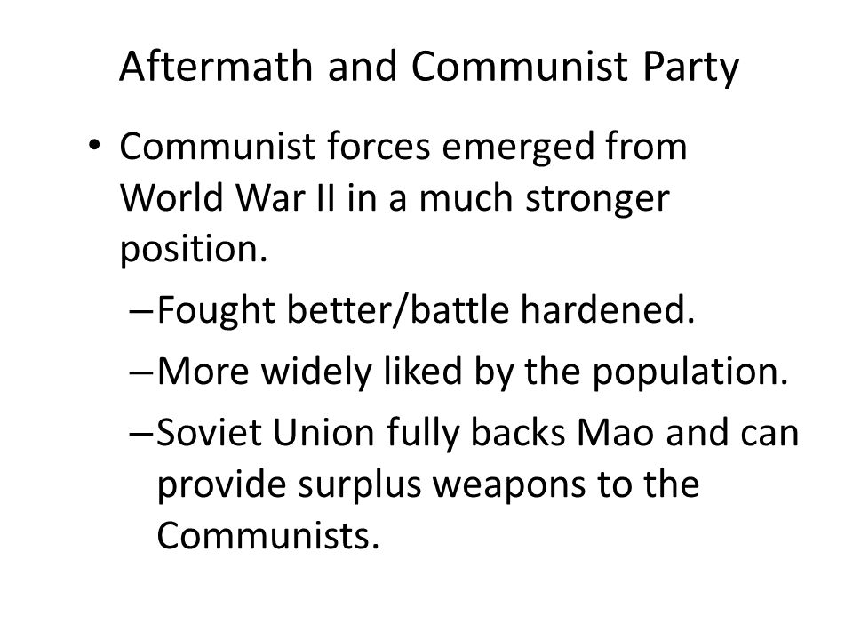 Aftermath and Communist Party