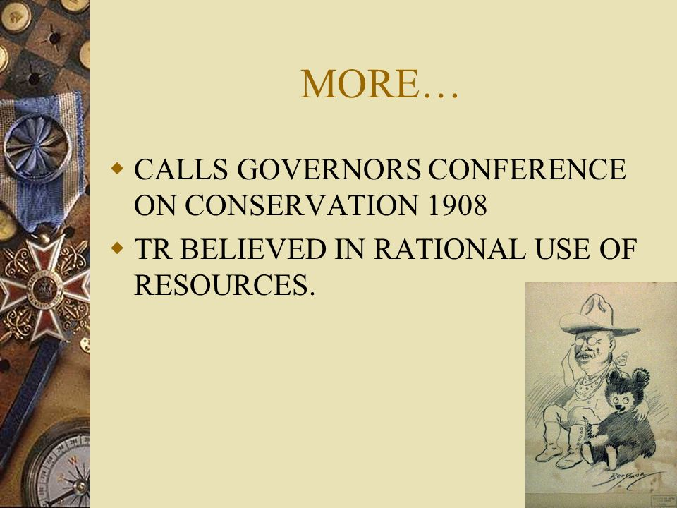 MORE… CALLS GOVERNORS CONFERENCE ON CONSERVATION 1908
