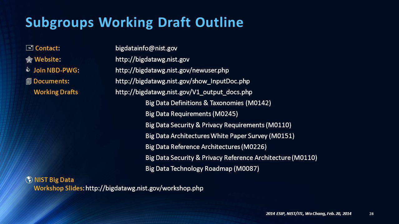 Subgroups Working Draft Outline