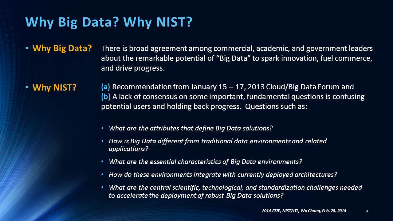 Why Big Data Why NIST Why Big Data Why NIST