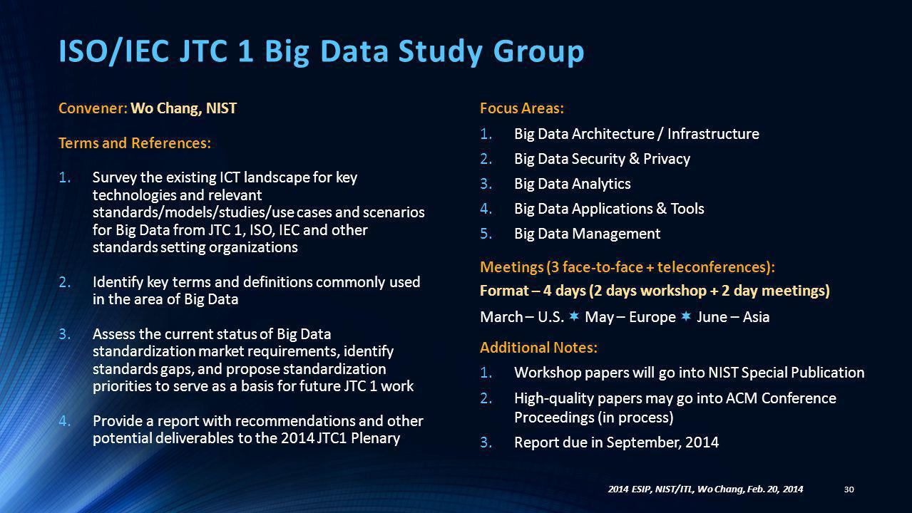ISO/IEC JTC 1 Big Data Study Group
