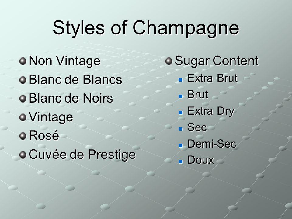 Styles of Champagne Non Vintage Blanc de Blancs Blanc de Noirs Vintage