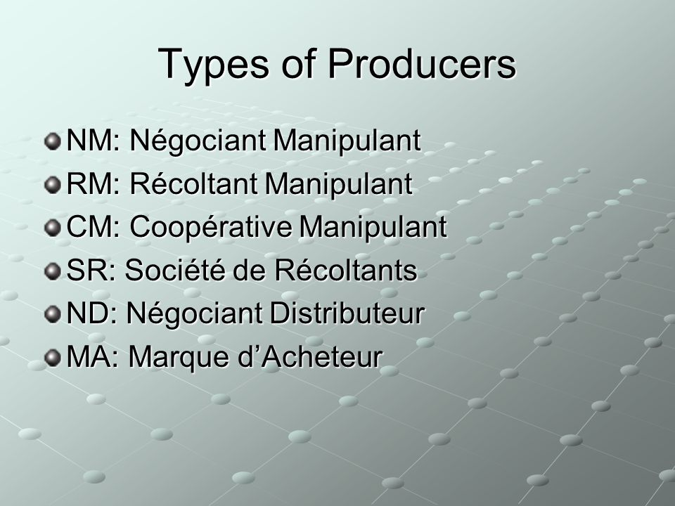Types of Producers NM: Négociant Manipulant RM: Récoltant Manipulant