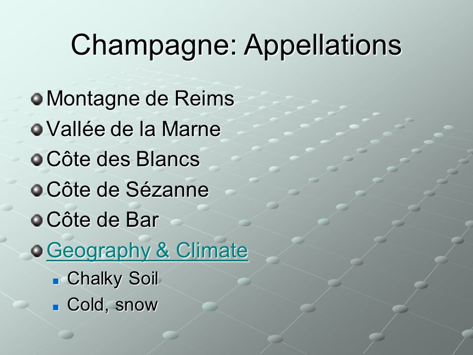 Champagne: Appellations