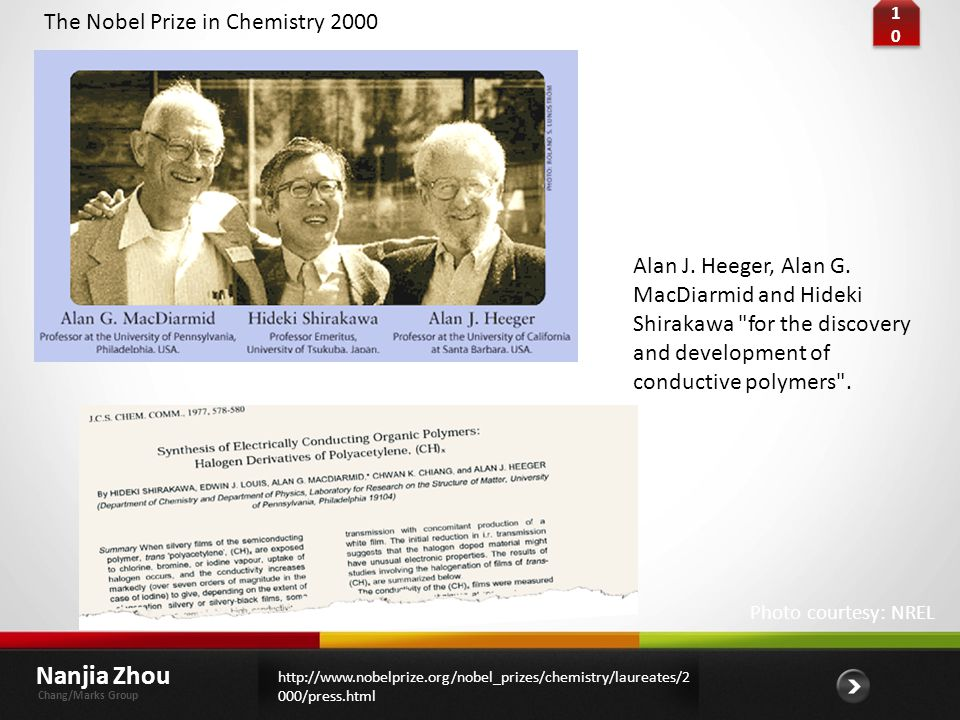 Nanjia Zhou The Nobel Prize in Chemistry 2000