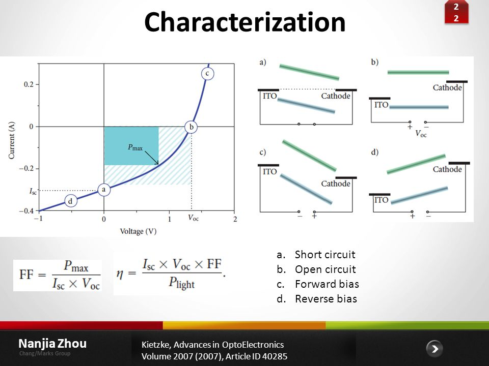 Characterization Nanjia Zhou Short circuit Open circuit Forward bias
