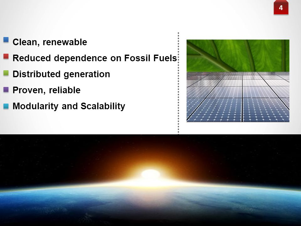 Reduced dependence on Fossil Fuels Distributed generation