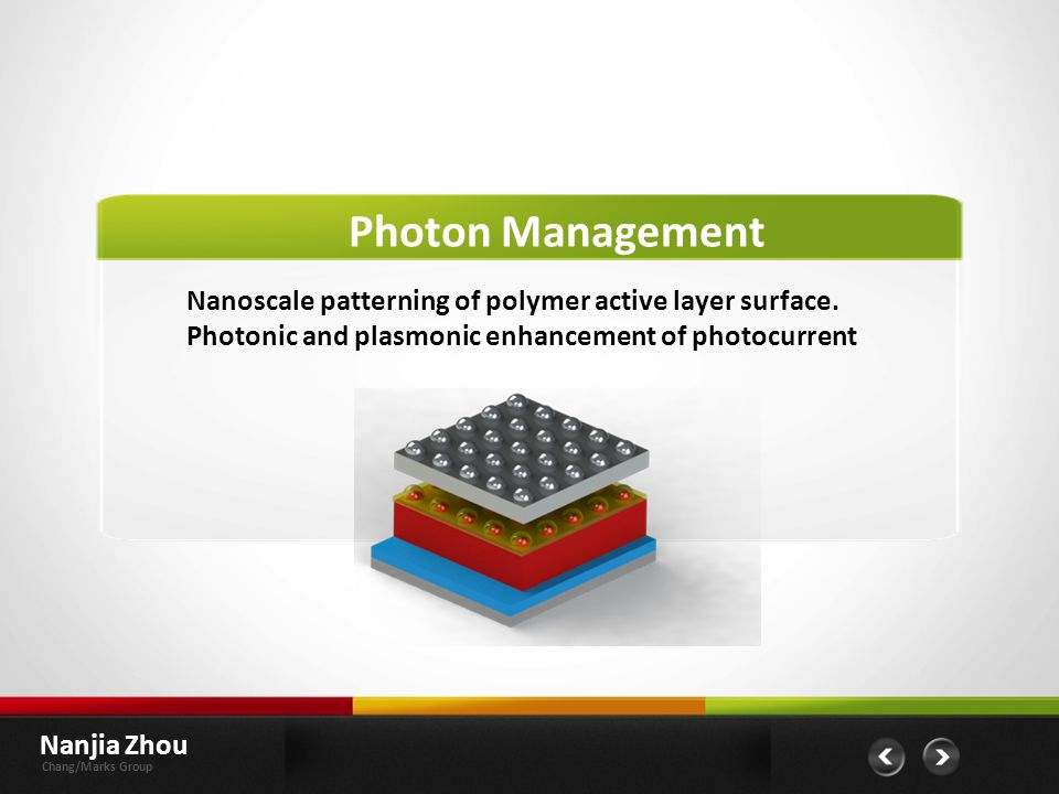 Nanoscale patterning of polymer active layer surface.