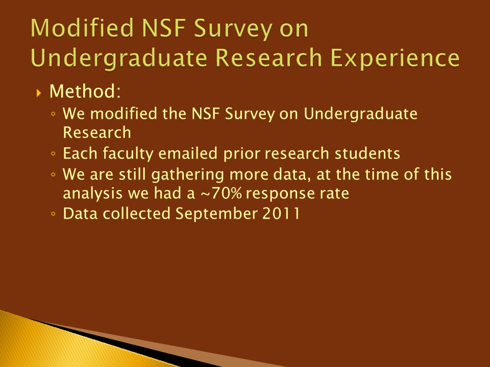Modified NSF Survey on Undergraduate Research Experience