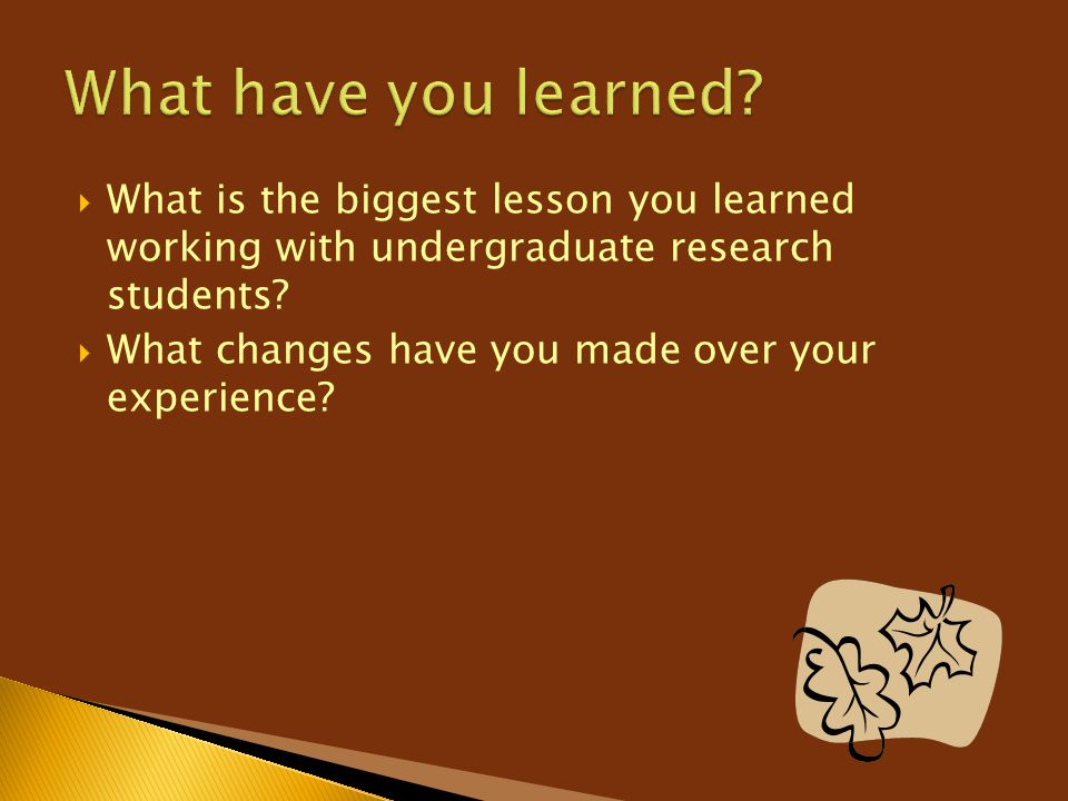 What have you learned What is the biggest lesson you learned working with undergraduate research students