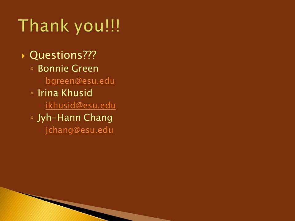 Thank you!!! Questions Bonnie Green Irina Khusid Jyh-Hann Chang