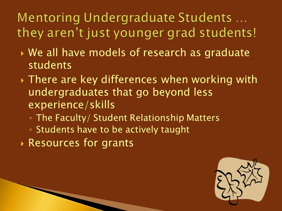 Mentoring Undergraduate Students … they aren't just younger grad students!
