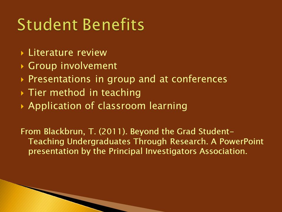Student Benefits Literature review Group involvement