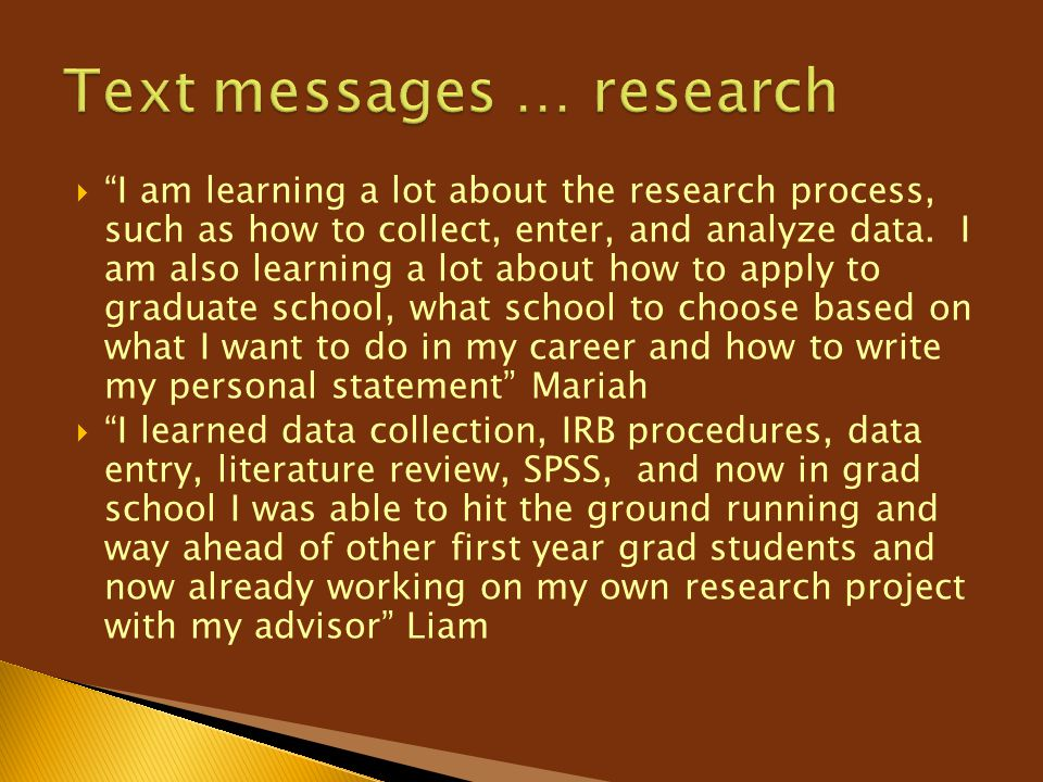 Text messages … research