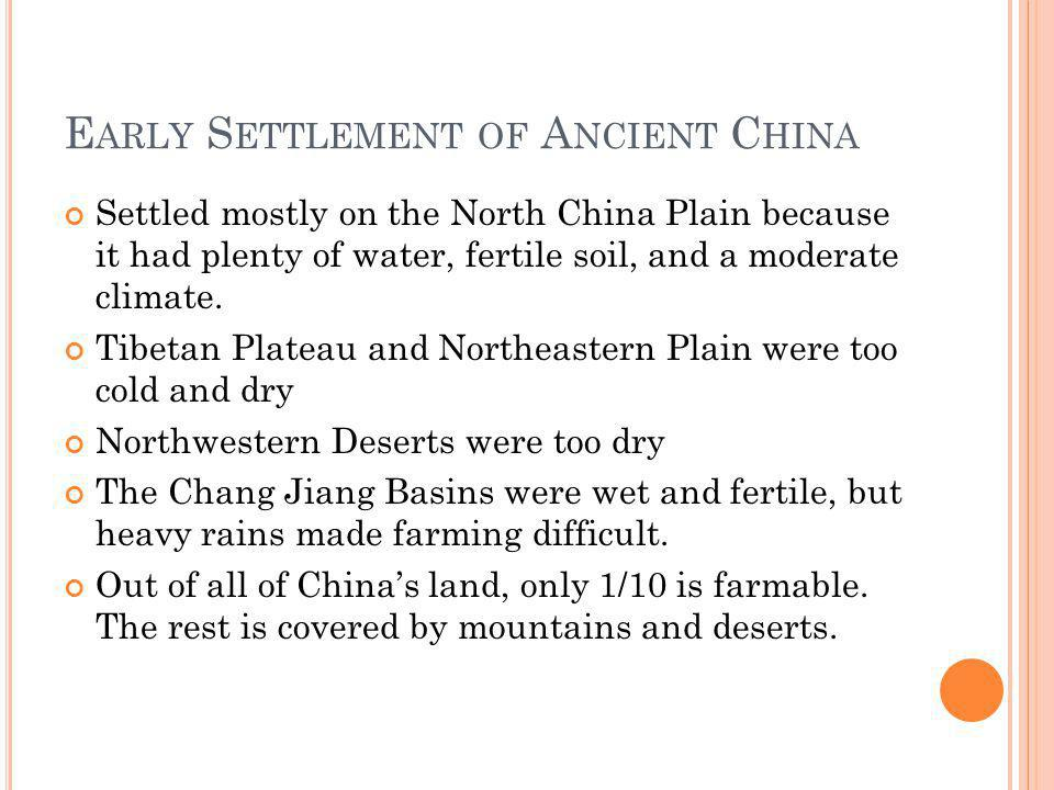 Early Settlement of Ancient China
