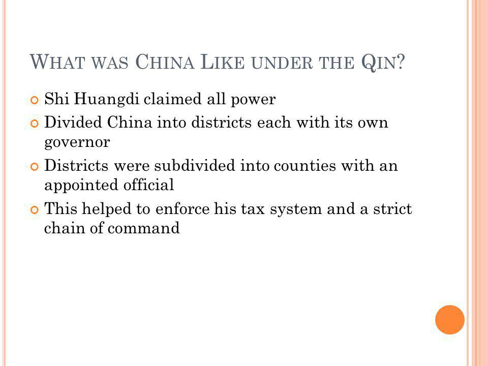 What was China Like under the Qin