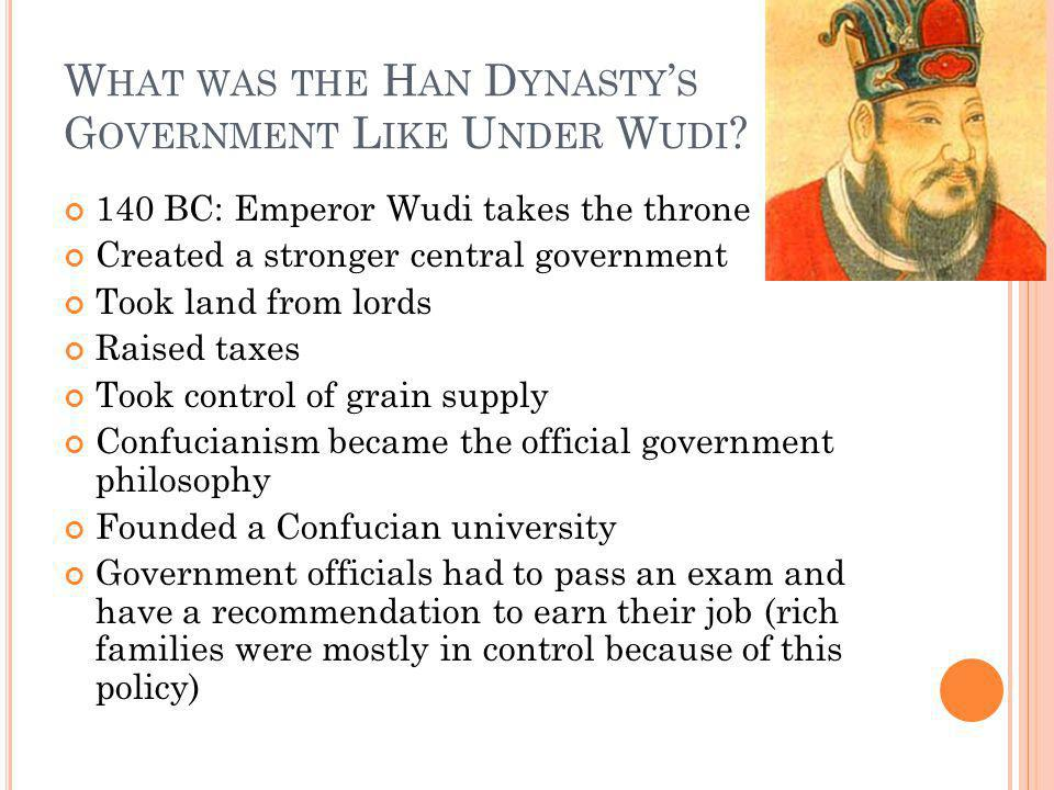 What was the Han Dynasty's Government Like Under Wudi