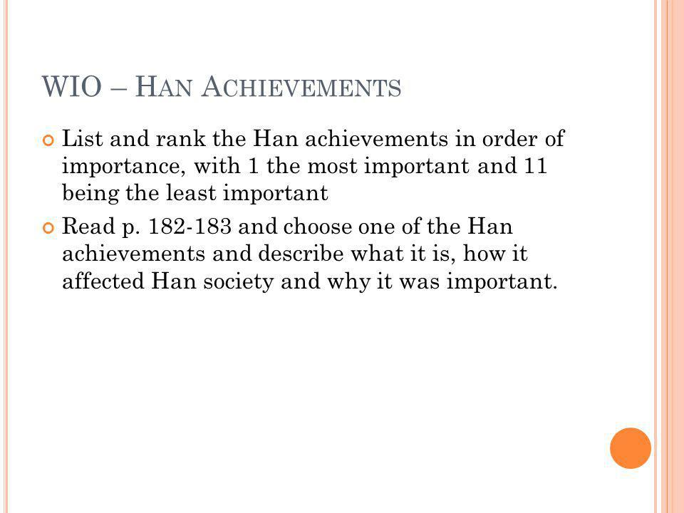 WIO – Han Achievements List and rank the Han achievements in order of importance, with 1 the most important and 11 being the least important.