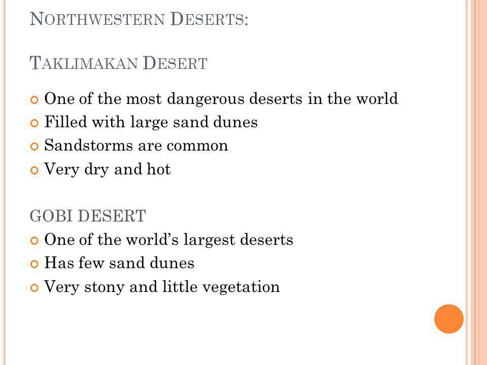 Northwestern Deserts: Taklimakan Desert