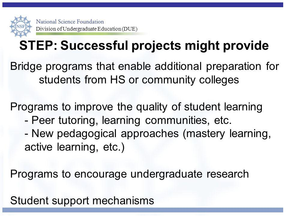 STEP: Successful projects might provide