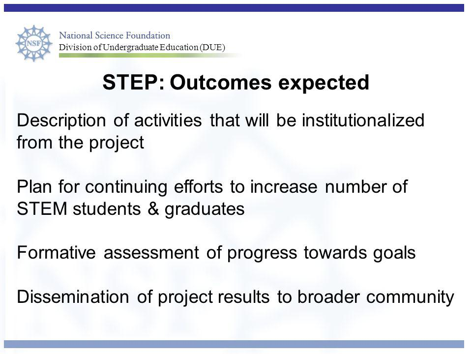 STEP: Outcomes expected