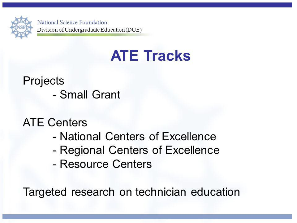 ATE Tracks Projects - Small Grant ATE Centers