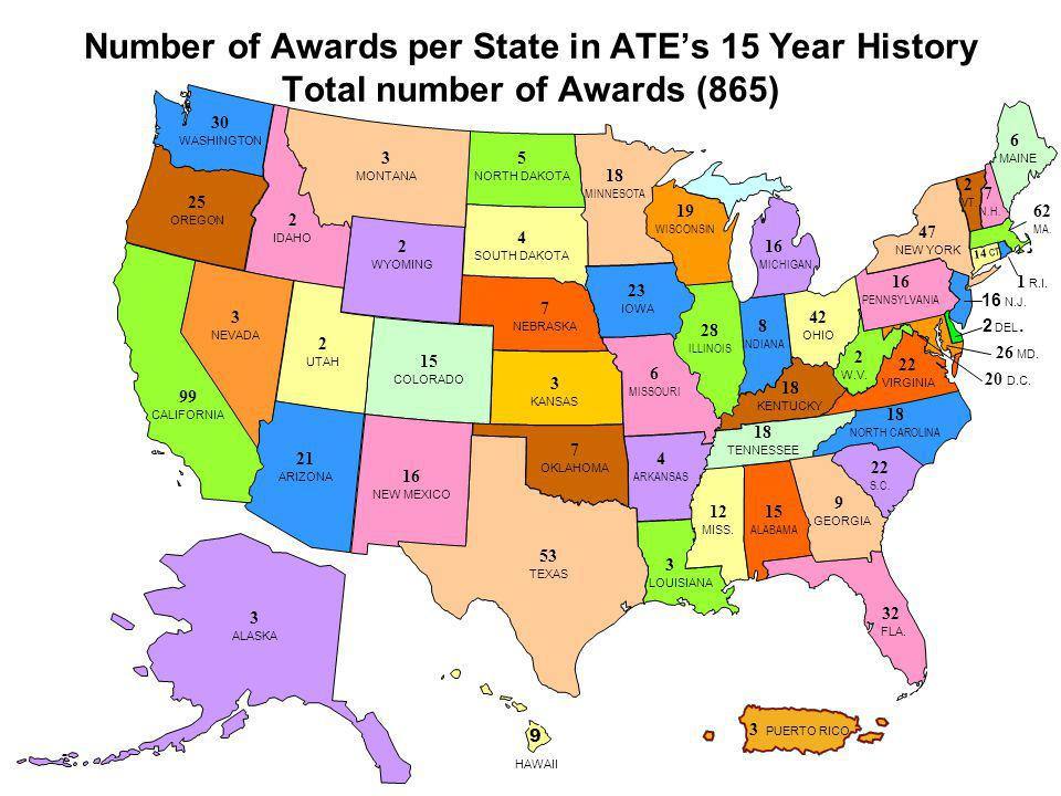 Number of Awards per State in ATE's 15 Year History Total number of Awards (865)