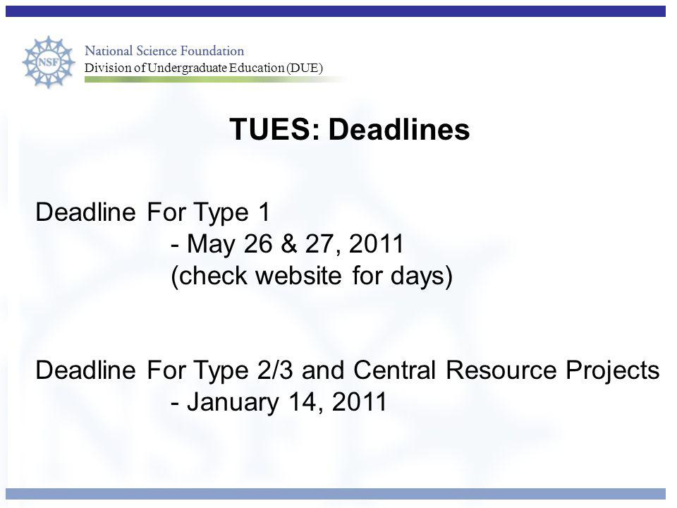 TUES: Deadlines Deadline For Type 1 - May 26 & 27, 2011