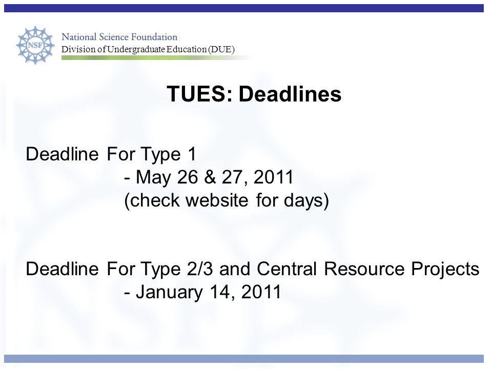 TUES: Deadlines Deadline For Type 1 - May 26 & 27, 2011