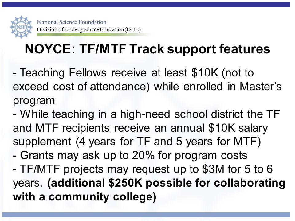 NOYCE: TF/MTF Track support features