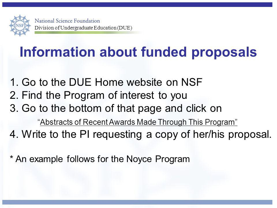 Information about funded proposals