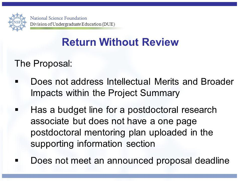 Return Without Review The Proposal: