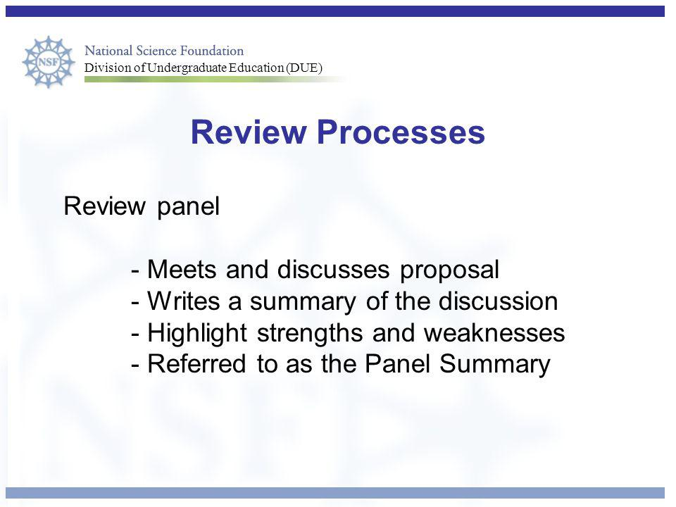 Review Processes Review panel - Meets and discusses proposal