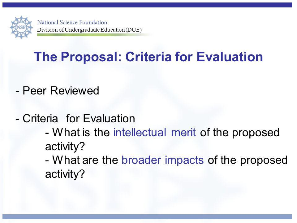 The Proposal: Criteria for Evaluation