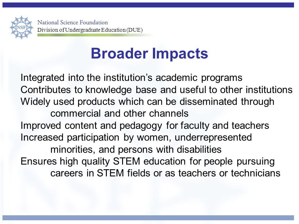 Broader Impacts Integrated into the institution's academic programs