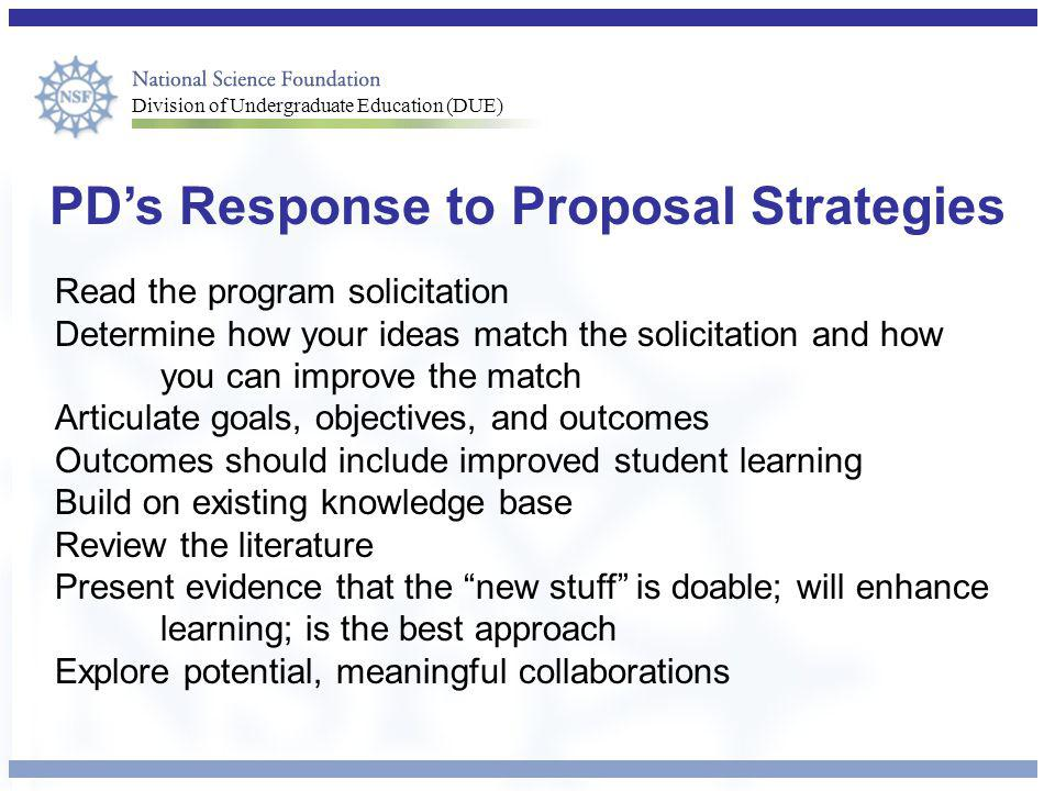 PD's Response to Proposal Strategies