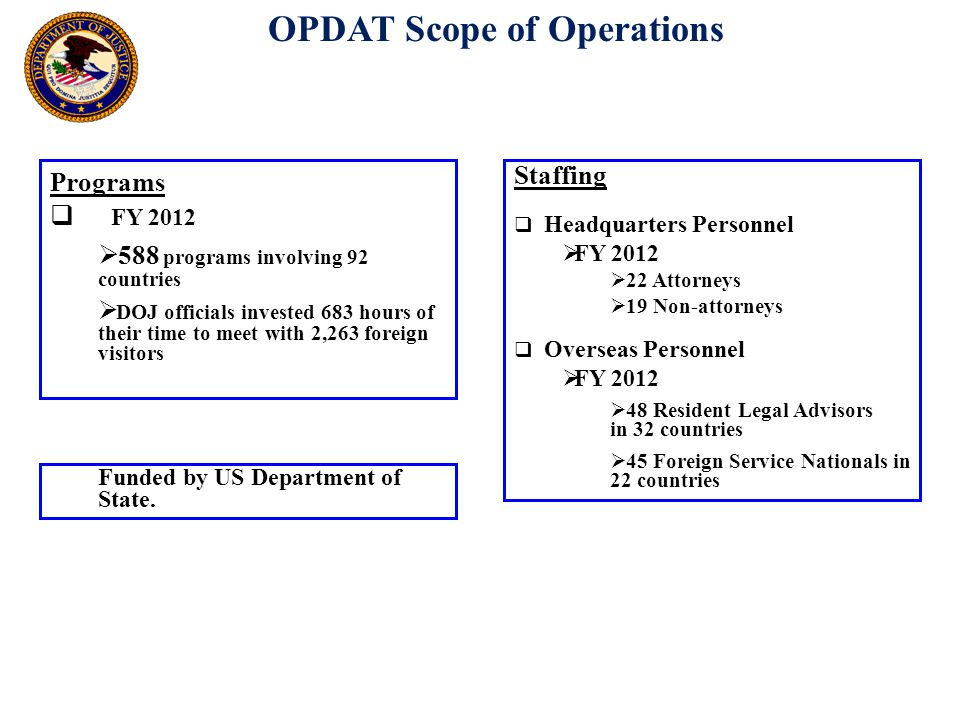 OPDAT Scope of Operations