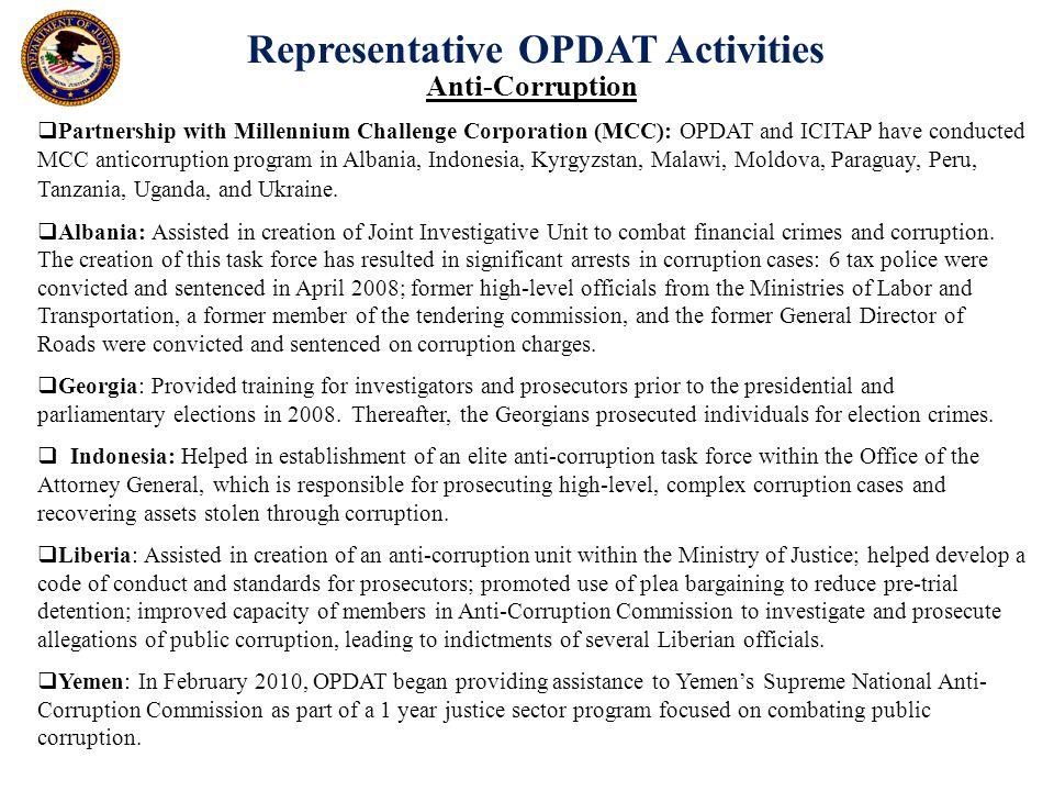 Representative OPDAT Activities