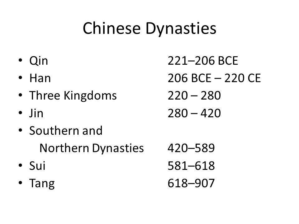 Chinese Dynasties Qin 221–206 BCE Han 206 BCE – 220 CE