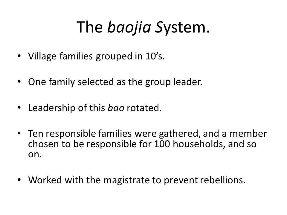 The baojia System. Village families grouped in 10's.