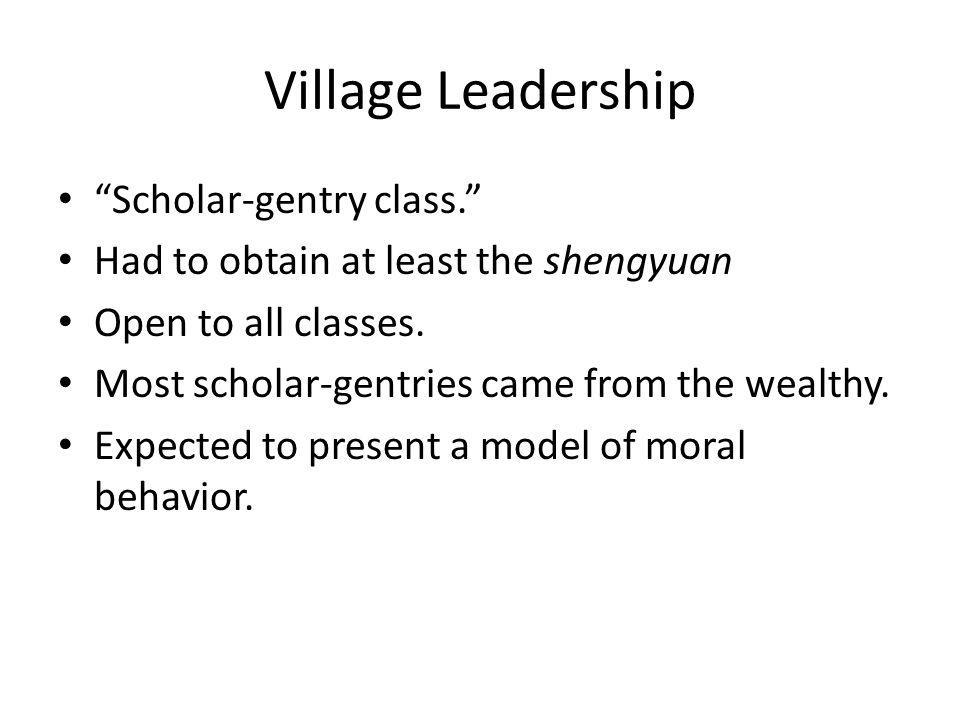 Village Leadership Scholar-gentry class.