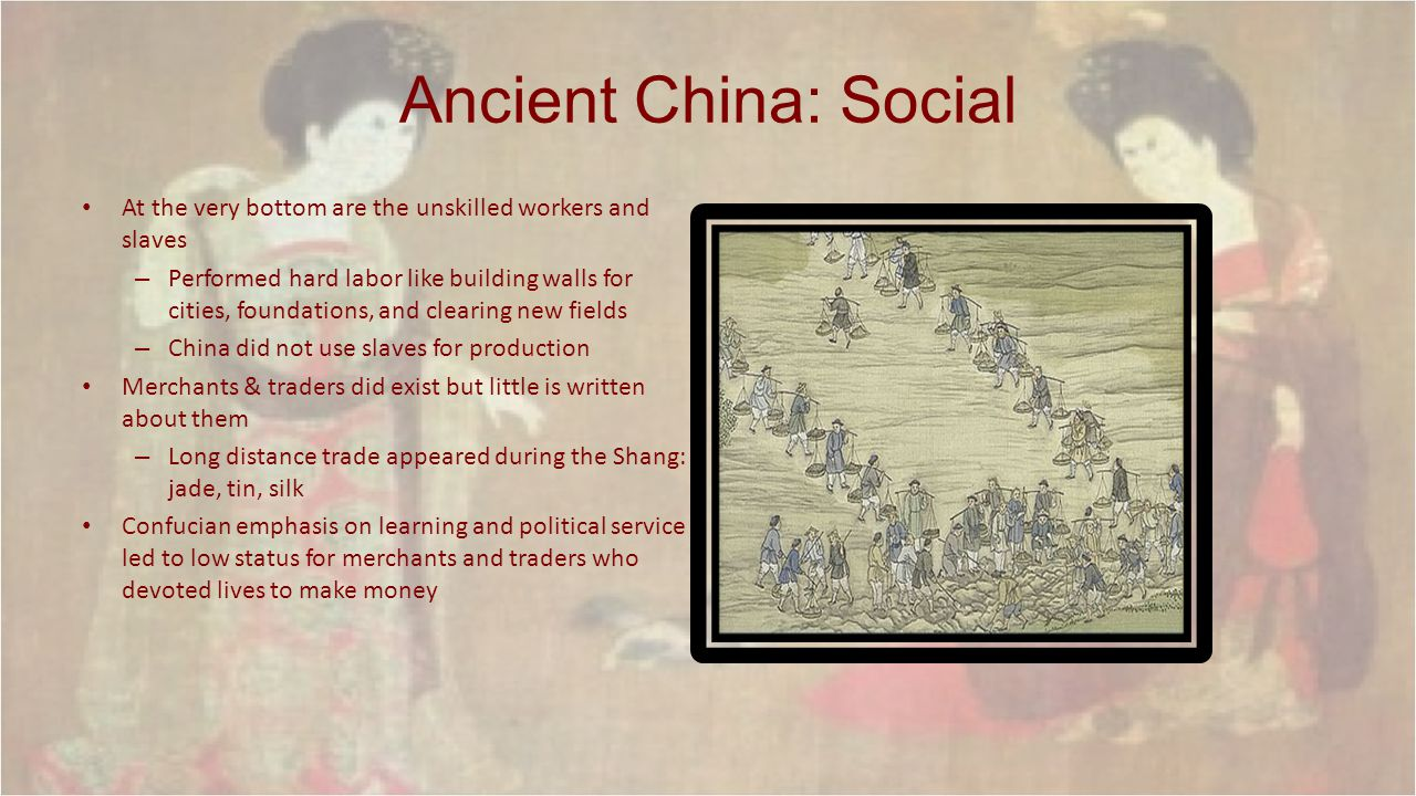 Ancient China: Social At the very bottom are the unskilled workers and slaves.
