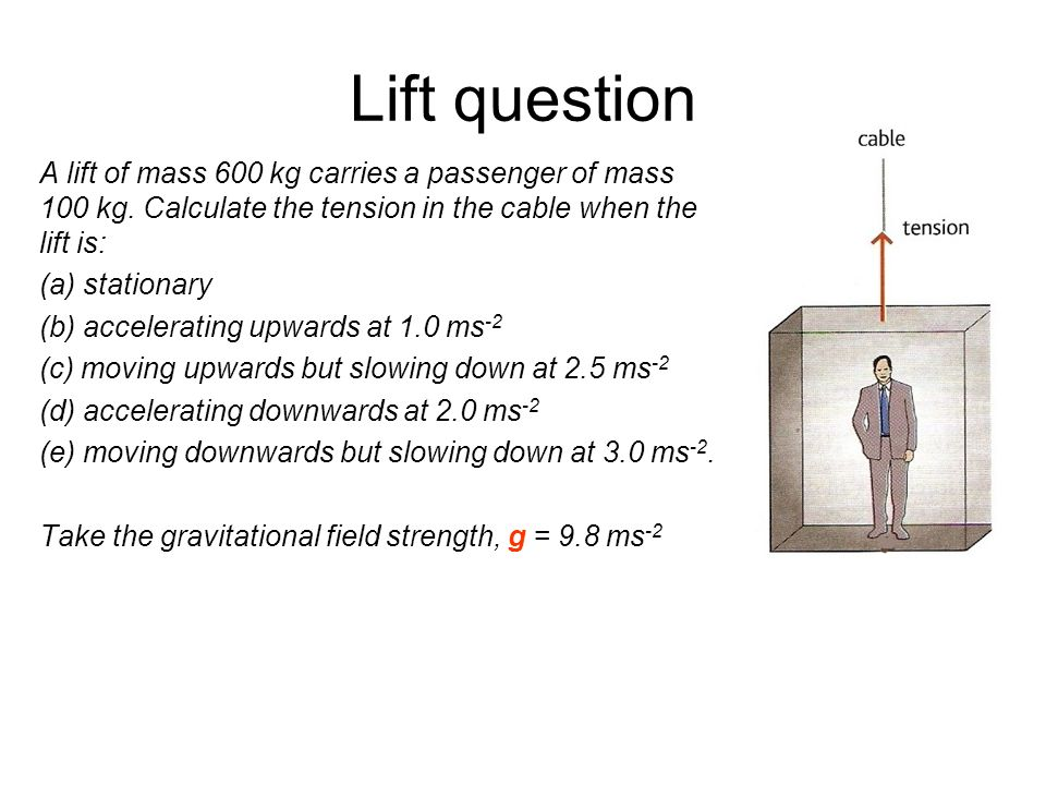 Lift question A lift of mass 600 kg carries a passenger of mass 100 kg. Calculate the tension in the cable when the lift is: