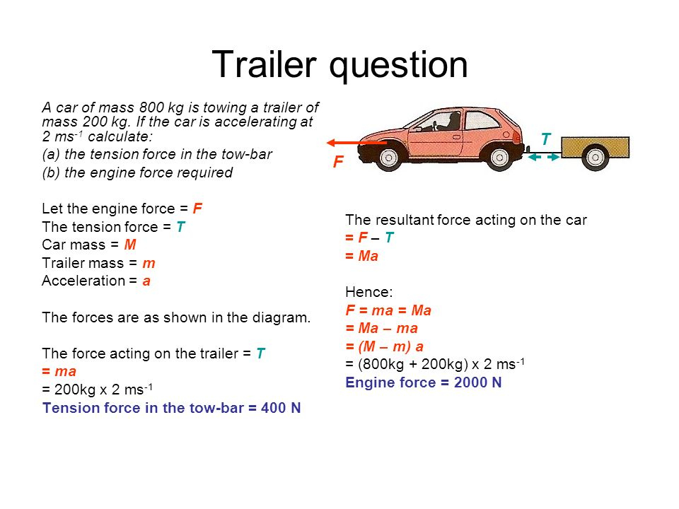 Trailer question A car of mass 800 kg is towing a trailer of mass 200 kg. If the car is accelerating at 2 ms-1 calculate: