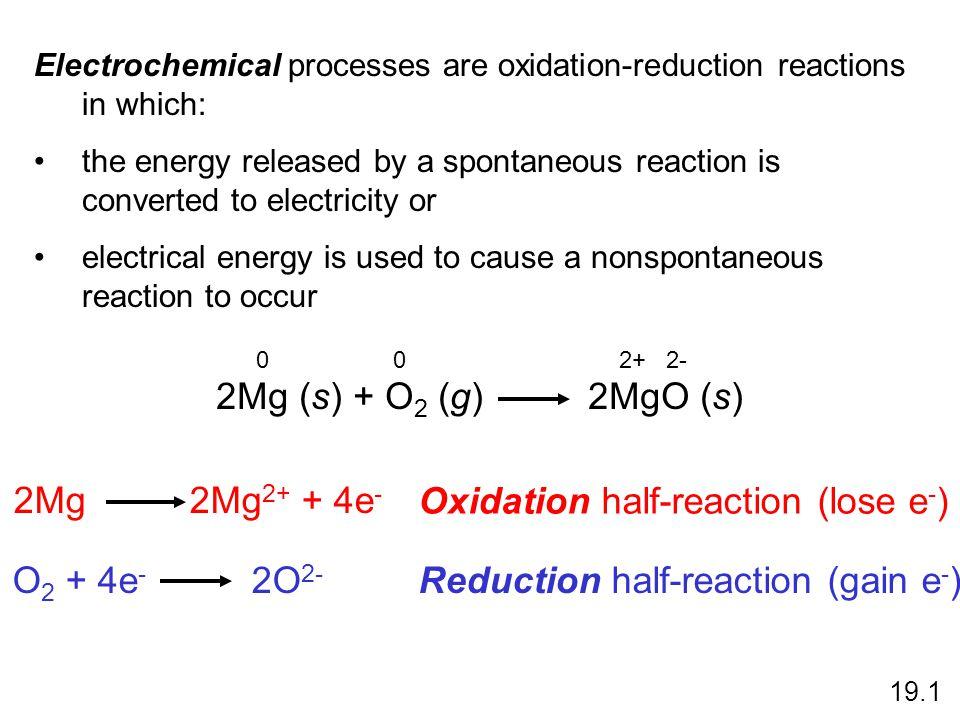 Oxidation half-reaction (lose e-)
