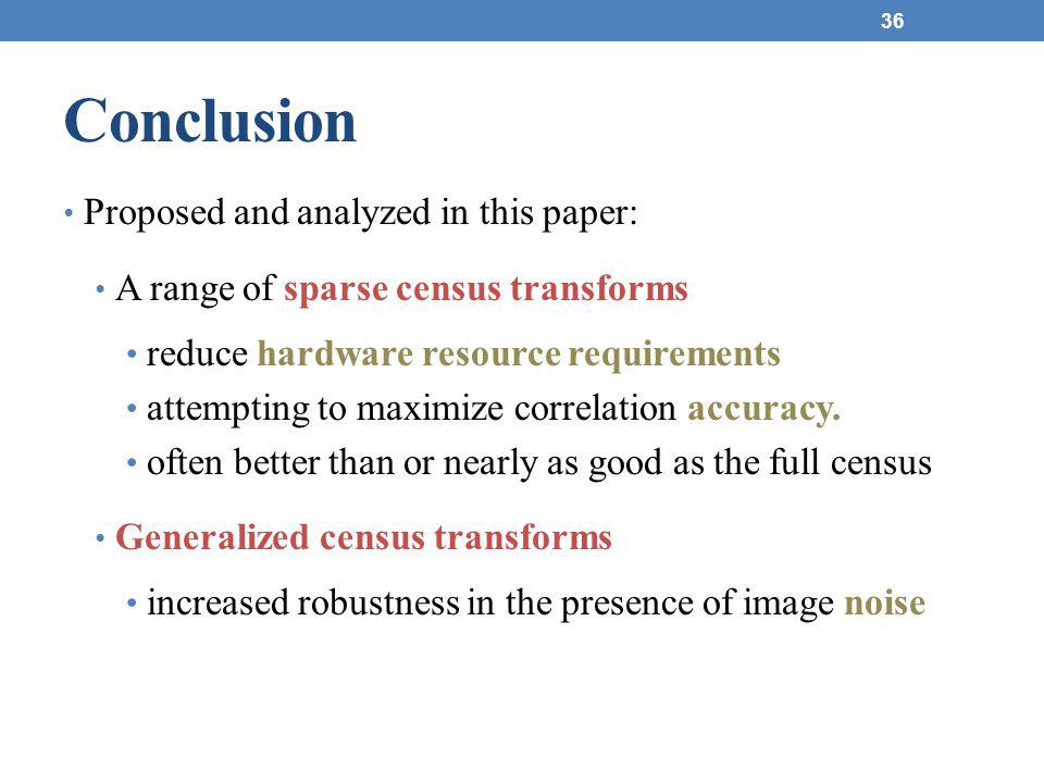 Conclusion Proposed and analyzed in this paper: