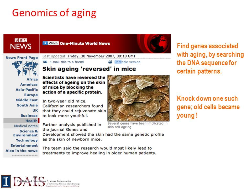 Genomics of aging Find genes associated with aging, by searching the DNA sequence for certain patterns.